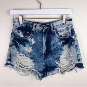 Forever 21 | Acid Wash Destroyed Jean Shorts